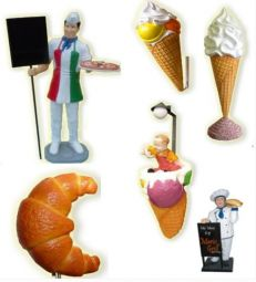 Puppets and three-dimensional figures for  places