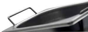 GST2/4P65M Récipient Gastronorm 2 / 4 H65 avec poignées en acier inox AISI 304