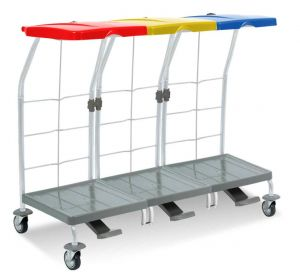 00004165 Dust 4165 linen trolley with pedal - 3X70 L