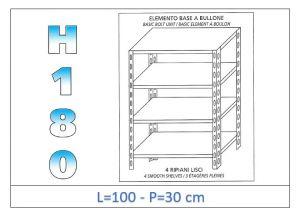 IN-1846910030B Estante con 4 estantes lisos fijación de pernos dim cm 100x30x180h