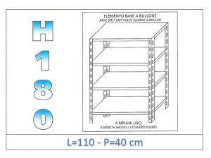 IN-1846911040B Estante con 4 estantes lisos fijación de pernos dim cm 110x40x180h