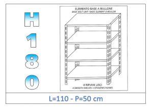 IN-1846911050B Estante con 4 estantes lisos fijación de pernos dim cm 110x50x180h