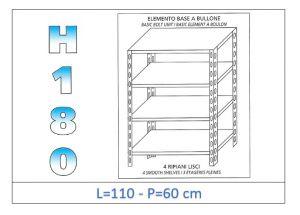 IN-1846911060B Étagère avec 4 étagères lisses fixation par boulon dim cm 110x60x180h