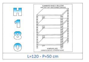 IN-1846912050B Estante con 4 estantes lisos perno fijación dim cm 120x50x180h