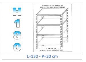 IN-1846913030B Étagère avec 4 étagères lisses fixation par boulon dim cm 130x30x180h