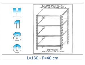 IN-1846913040B Estante con 4 estantes lisos fijación de pernos dim cm 130x40x180h