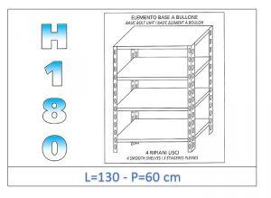 IN-1846913060B Étagère avec 4 étagères lisses fixation par boulon dim cm 130x60x180h