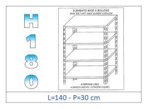 IN-1846914030B Estante con 4 estantes lisos fijación de pernos dim cm 140 x30x180h