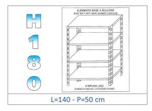 IN-1846914050B Estante con 4 estantes lisos fijación de pernos dim cm 140x50x180h