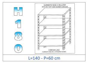 IN-1846914060B Étagère avec 4 étagères lisses fixation par boulon dim cm 140x60x180h
