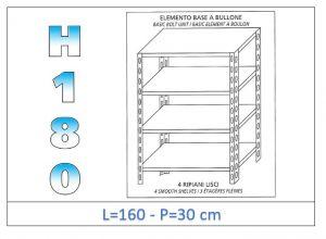 IN-1846916030B Estante con 4 estantes lisos perno fijación dim cm 160x30x180h