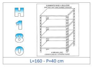 IN-1846916040B Étagère avec 4 étagères lisses fixation par boulon dim cm 160x40x180h