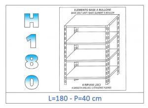 IN-1846918040B Estante con 4 estantes lisos fijación de pernos dim cm 180x40x180h