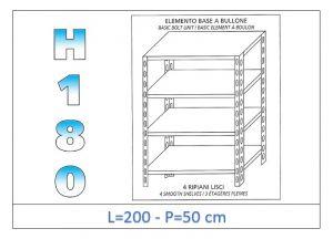 IN-1846920050B Estante con 4 estantes lisos fijación de pernos dim cm 200x50x180h