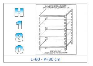 IN-184696030B Étagère avec 4 étagères lisses fixation par boulon dim cm 60x30x180h