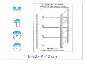 IN-184696040B Estante con 4 estantes lisos fijación de pernos dim cm 60x40x180h