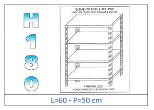 IN-184696050B Étagère avec 4 étagères lisses fixation par boulon dim cm 60x50x180h