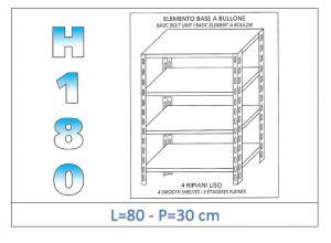 IN-184698030B Étagère avec 4 étagères lisses fixation par boulon dim cm 80x30x180h