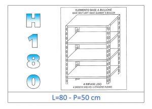 IN-184698050B Étagère avec 4 étagères lisses fixation par boulon dim cm 80x50x180h