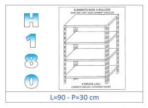 IN-184699030B Étagère avec 4 étagères lisses fixation par boulon dim cm 90x30x180h