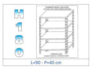 IN-184699040B Étagère avec 4 étagères lisses fixation par boulon dim cm 90x40x180h