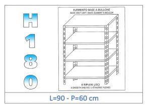 IN-184699060B Estante con 4 estantes lisos fijación de pernos dim cm 90x60x180h