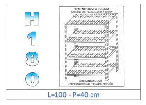 IN-1847010040B Étagère avec 4 étagères à fente fixation par boulon dim cm 100x40x180h
