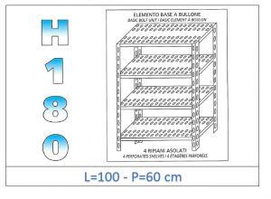 IN-1847010060B Étagère avec 4 étagères à fente fixation par boulon dim cm 100x60x180h