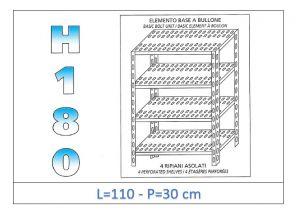 IN-1847011030B Étagère avec 4 étagères à fente fixation par boulon dim cm 110x30x180h