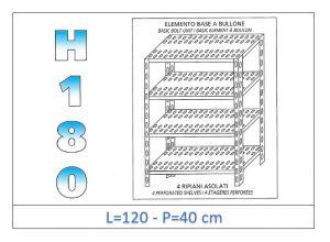 IN-1847012040B Étagère avec 4 étagères à fente fixation par boulon dim cm 120x40x180h
