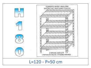 IN-1847012050B Étagère avec 4 étagères à fente fixation par boulon dim cm 120x50x180h