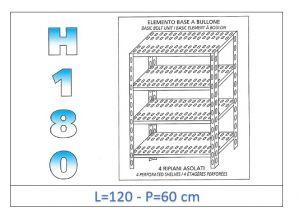 IN-1847012060B Étagère avec 4 étagères à fente fixation par boulon dim cm 120x60x180h
