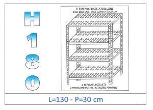 IN-1847013030B Étagère avec 4 étagères à fente fixation par boulon dim cm 130x30x180h