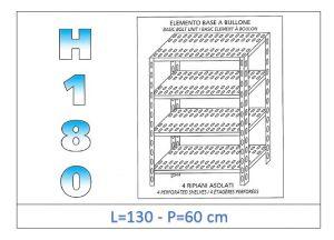 IN-1847013060B Étagère avec 4 étagères à fente fixation par boulon dim cm 130x60x180h
