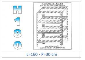IN-1847016030B Étagère avec 4 étagères à fente fixation par boulon dim cm 160x30x180h