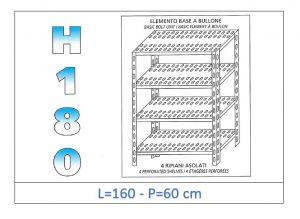 IN-1847016060B Étagère avec 4 étagères à fente fixation par boulon dim cm 160x60x180h