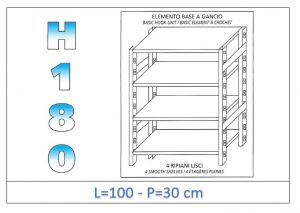 IN-18G46910030B Shelf with 4 smooth shelves hook fixing dim cm 100x30x180h
