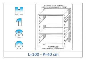 IN-18G46910040B Shelf with 4 smooth shelves hook fixing dim cm 100x40x180h