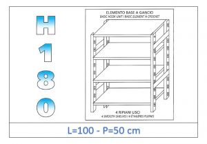 IN-18G46910050B Shelf with 4 smooth shelves hook fixing dim cm 100x50x180h