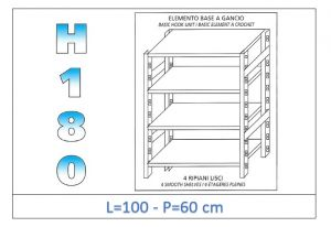 IN-18G46910060B Shelf with 4 smooth shelves hook fixing dim cm 100x60x180h