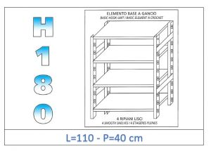 IN-18G46911040B Shelf with 4 smooth shelves hook fixing dim cm 110x40x180h