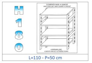 IN-18G46911050B Shelf with 4 smooth shelves hook fixing dim cm 110x50x180h