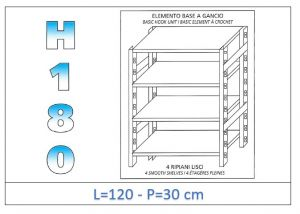 IN-18G46912030B Shelf with 4 smooth shelves hook fixing dim cm 120x30x180h