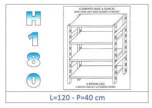 IN-18G46912040B Shelf with 4 smooth shelves hook fixing dim cm 120x40x180h