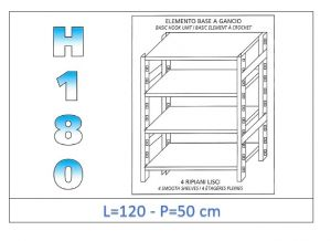 IN-18G46912050B Shelf with 4 smooth shelves hook fixing dim cm 120x50x180h