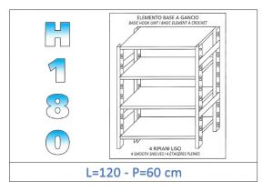 IN-18G46912060B Shelf with 4 smooth shelves hook fixing dim cm 120x60x180h