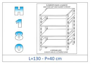 IN-18G46913040B Shelf with 4 smooth shelves hook fixing dim cm 130x40x180h