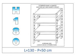 IN-18G46913050B Shelf with 4 smooth shelves hook fixing dim cm 130x50x180h