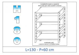 IN-18G46913060B Shelf with 4 smooth shelves hook fixing dim cm 130x60x180h
