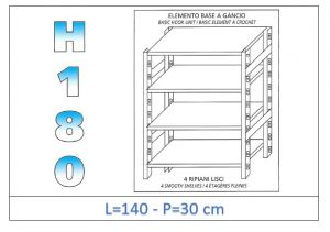 IN-18G46914030B Shelf with 4 smooth shelves hook fixing dim cm 140 x30x180h